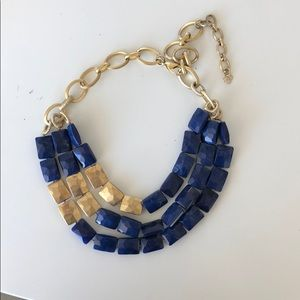 Stella & Dot blue and gold statement necklace